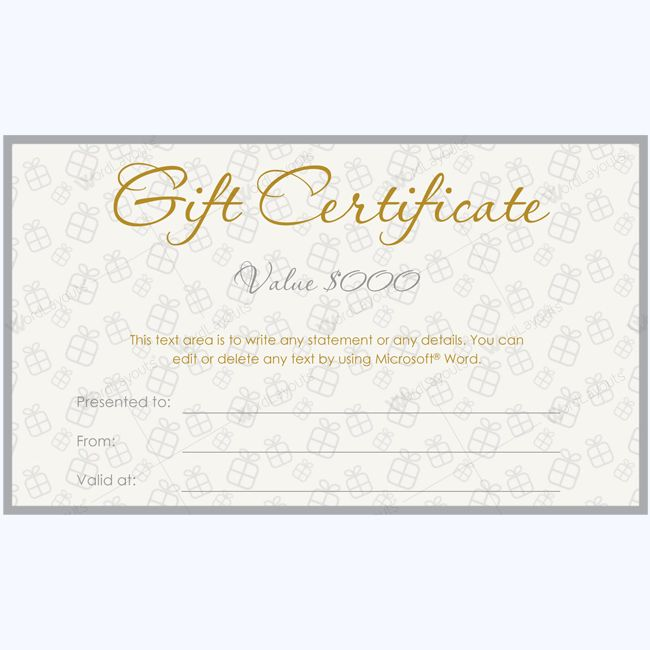 47 best Gift Certificate Templates images on Pinterest - gift certificate template in word