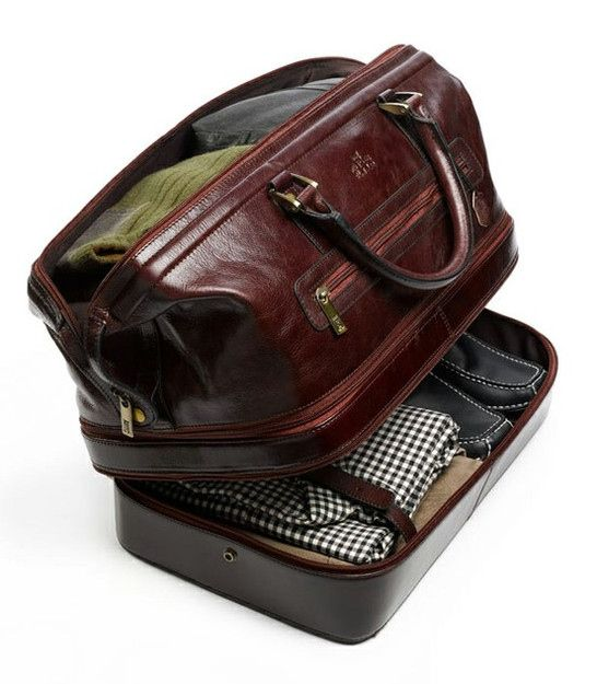 NOT just for men! Leather Duffle Bag with Bottom Compartment