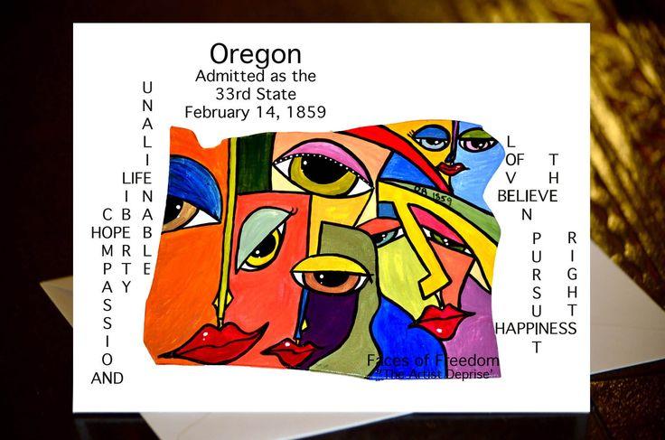 United States Greeting Cards Oklahoma Oregon Pennsylvania South Carolina South Dakota by Deprise From the Art Installation 'Faces of Freedom