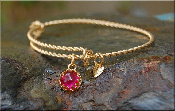 Ruby Gemstone Twisted Expandable Bangle Bracelet, Adjustable Bangle, Sterling Silver Bracelet, Stacking bracelet, 14k gold bangle