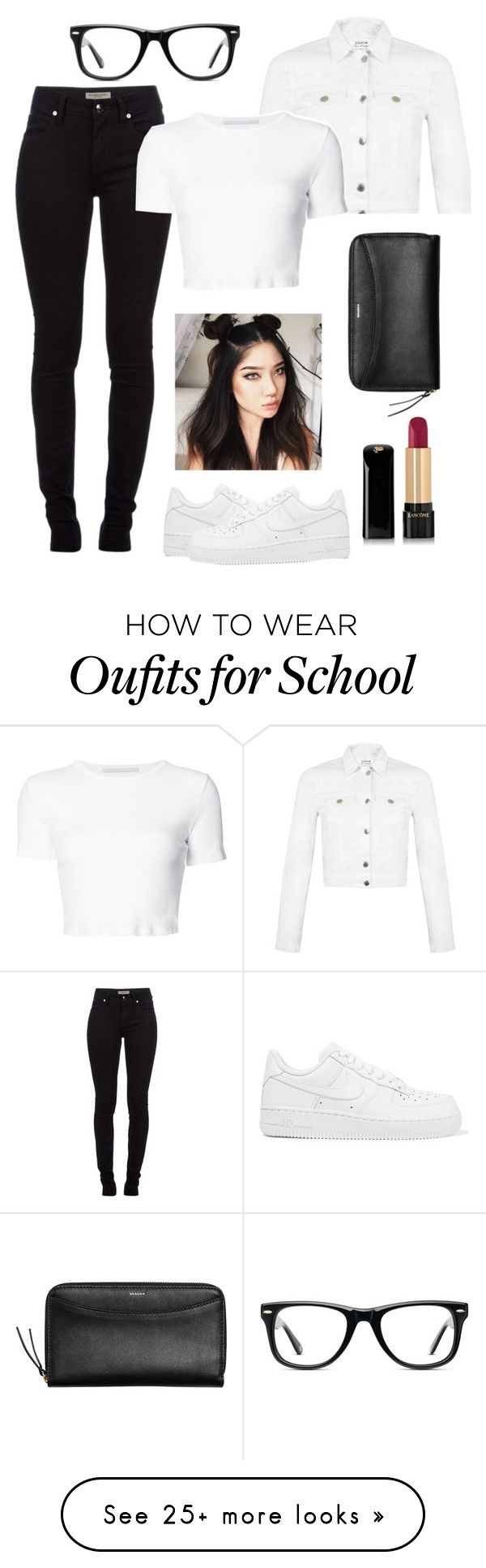 """Schools' back in session!!!"" by genova-was-here on Polyvore featuring Burberry, NIKE, Miss Selfridge, Rosetta Getty, Skagen, Lancôme and Muse"