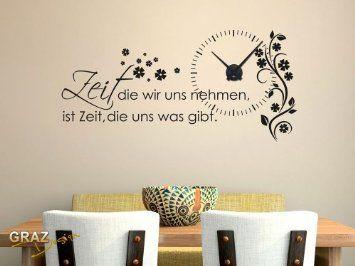 Wandtattoo Uhr Wanduhr mit Uhrwerk Zitat Zeit Wohnzimmer Blume (Uhr=Schwarz//Aufkleber=Schwarz): Amazon.de: Küche & Haushalt