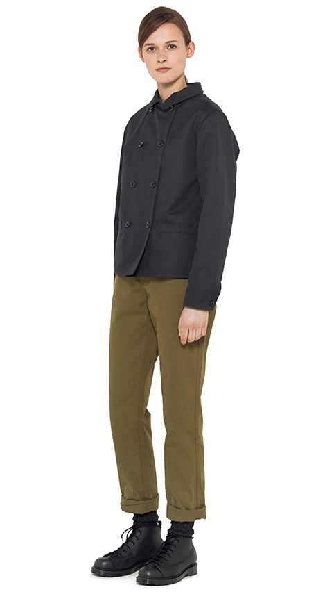 AUTUMN WINTER 14 - Dark navy cotton panama jacket (MHL), khaki cotton trouser (MHL), charcoal wool sock (MHL), black leather boot (MHL)