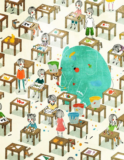 Blue Elephant in the classroom. Illustration by Oanh Le.