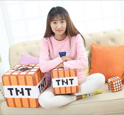 2015 hot 10cm Minecraft Plush Toys Cotton Stuffed TNT Key Chain For Kids gift cartoon plush collection wholesale