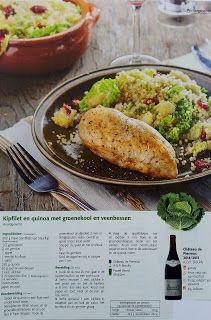 Kipfilet en quinoa met groenekool en veenbessen. Recept uit  colruyt magazine. www.supermarecette.be