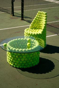 chair and table with tennis balls #tennisdecoration #tennisballs #tennisballsareuseful