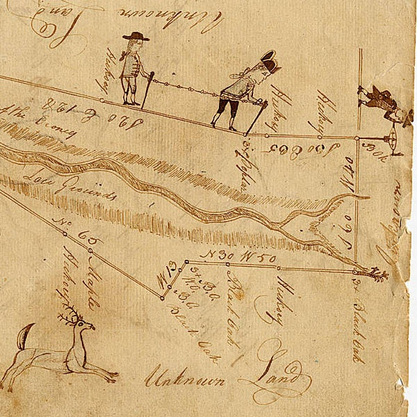 """Detail of """"Doodle Plat"""", ca. 1784, plat of Georgia land granted to William LeFew, Headright and Lottery Loose Plat File, Survey Records, Surveyor General, RG 3-3-26, Georgia Archives"""