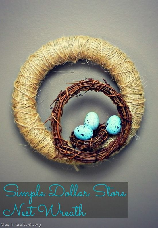 Simple Dollar Store Nest Wreath (and other Easter egg projects) - Mad in Crafts