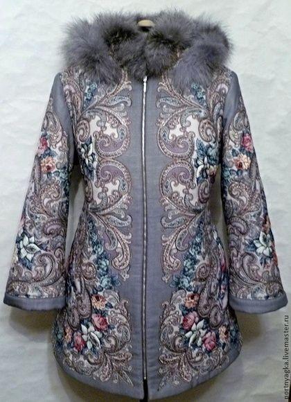 Куртка Зимняя тайна из ППП - цветочный,павловопосадский платок,русский стиль