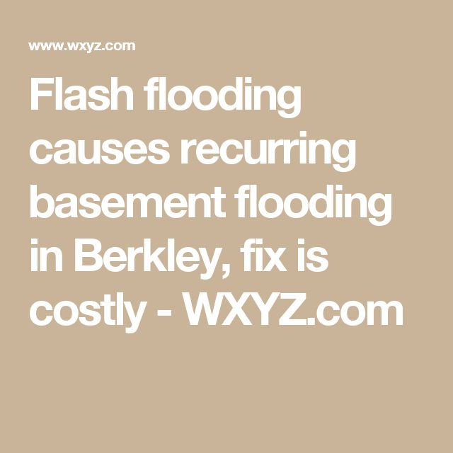Flash Flooding Causes Recurring Basement Flooding In Berkley, Fix Is Costly    WXYZ.com
