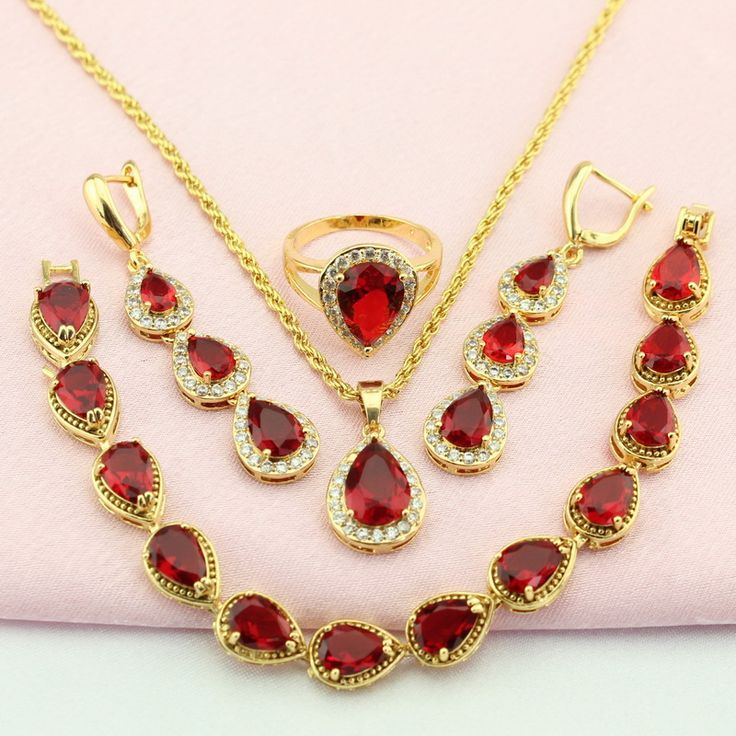 WPAITKYS Created Ruby Gold Plated Jewelry Set For Women Wedding Bridal Jewelry Sets Earrings Pendant Ring Bracelet Free Gift Box