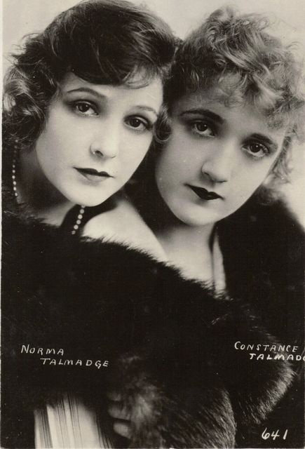Sisters Norma & Constance Talmadge.  Norma is something of an enigma today. Though most of her films survive, they are rarely screened. Constance has fewer surviving films, but is more familiar to modern audiences through her appealing role in D. W. Griffith's Intolerance (1916).