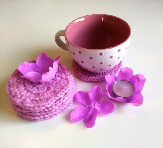 Crocheted pink coasters by personal2treasures on Etsy