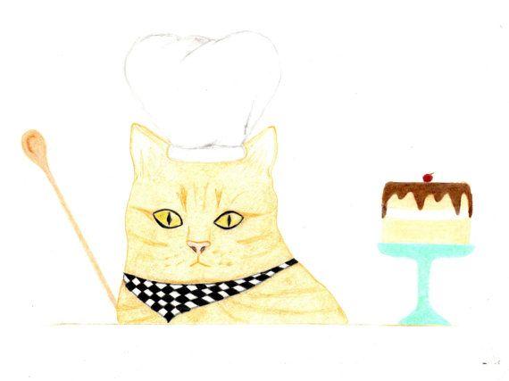 Birthday Card  Ginger Orange Cat Chef  Cat by BlackCatStudioArt