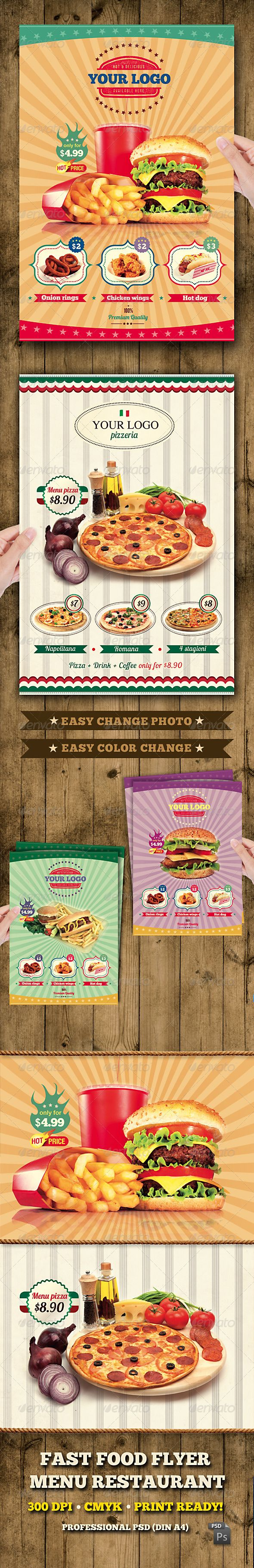 Fast Food Flyer Menu Restaurant A4 #GraphicRiver Fast Food Flyer Menu Restaurant A4 Fast Food flyer suitable for any food Restaurants. It can be Flyer, Poster, Press Ad. Just change text and images, your flyer print ready!! Features • The final package you download includes a fully layered, renamed, grouped PSD file. • Easy to modify, change colors, dimensions, all text editable. • The PSD file is setup at 2480px x 3508px (Din A4) • CMYK 300DPI • Easy model Photo Replacement • The PSD file…