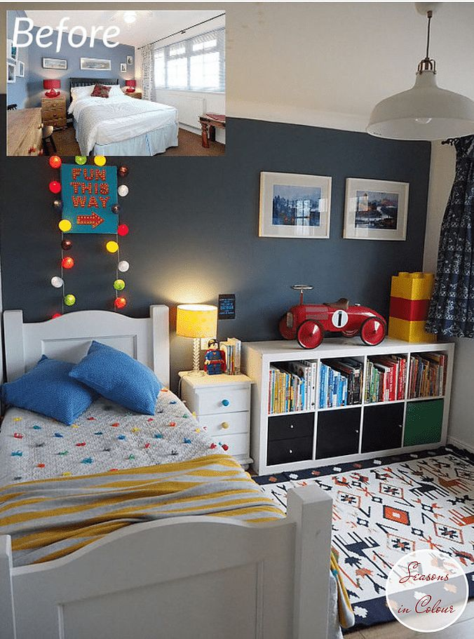 kids room makeover in blue and red boys room with colour and ethnic rug walls in dulux steel symphony 1