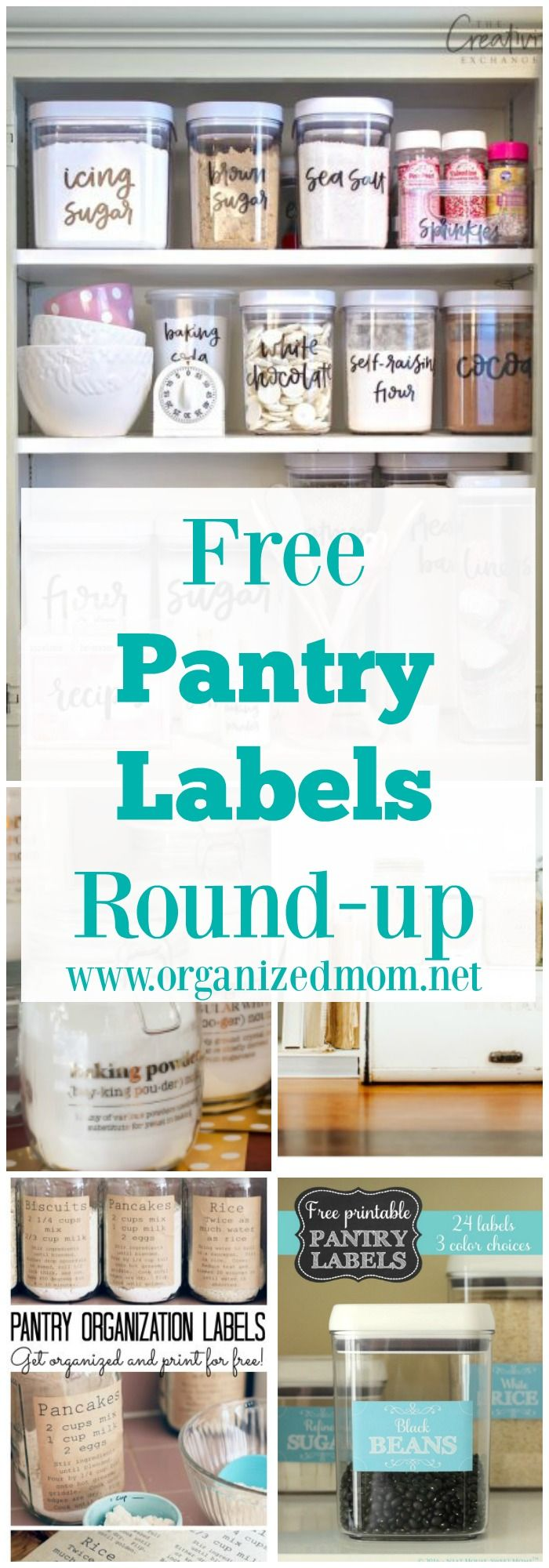 DIY Home decor and organization! Free printable pantry labels.  These will have your kitchen looking amazing in no time!