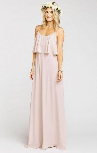 Blush pink boho bridesmaid gown, kinda love this for a beach or destination wedding!