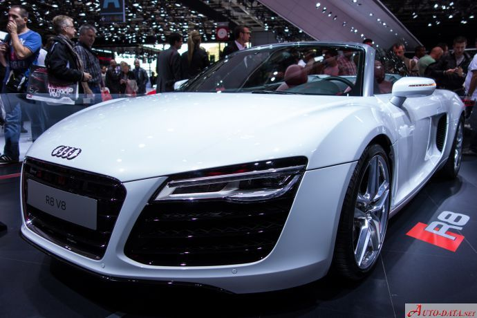 Audi R8 spyder - incredible white Audi, showroom picture.If you``d like to know more about it - like detailed technical information and browse through some nice Audi pictures - you`re welcomed to check us out on the web.