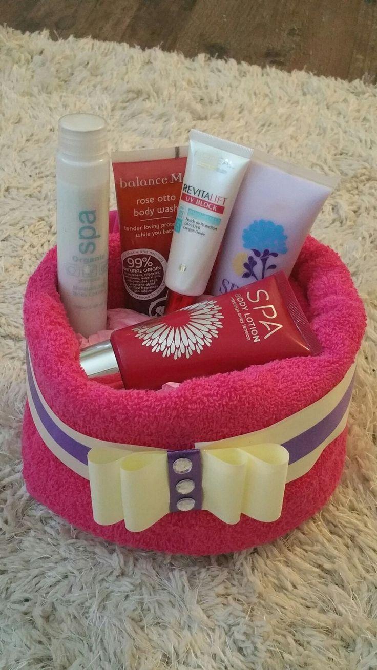 Pamper Towel Cake, made to order. Visit www.bespokebabyhampers.co.uk #towelcake #birthday #giftideas