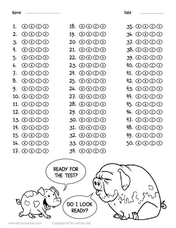 Printable 50 Question Answer Sheet Pdf Multiple Choice A B C D