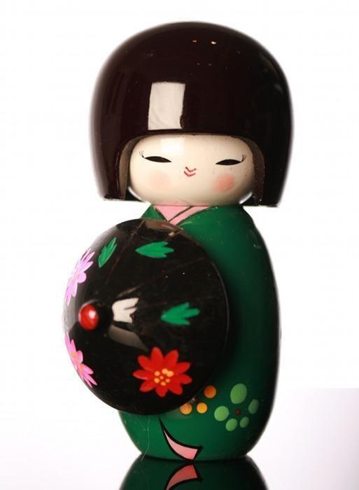 Japanese Dolls - Kokeshi Doll - Green