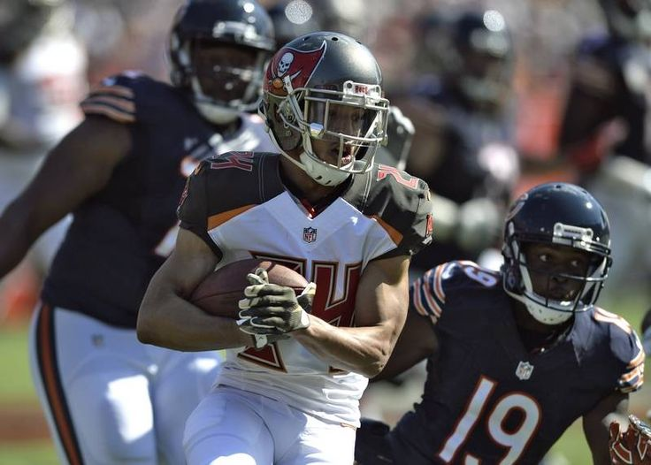 Bears. vs. Buccaneers:  36-10, Buccaneers - November 13, 2016:    Tampa Bay Buccaneers cornerback Brent Grimes (24) gets away from Chicago Bears wide receiver Eddie Royal (19) after intercepting a pass by quarterback Jay Cutler during the first quarter of an NFL football game Sunday, Nov. 13, 2016, in Tampa, Fla.