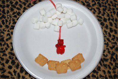 Op een bord kan je ook het Hemelvaartsverhaal laten zien! Koekjes als discipelen, marshmallows als wolken en een gummy beer als Jezus. Alles, behalve de gummy beer, plak je vast met bijvoorbeeld chocola. Door het touwtje kan gummy beer Jezus bij de discipelen vandaan naar de hemel opstijgen.