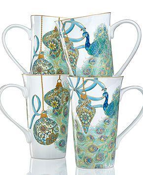 222 Fifth Holiday Drinkware, Set of 4 Lakshmi Peacock Latte Mugs - Serveware - Dining & Entertaining - Macy's