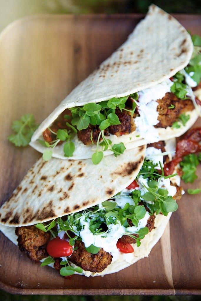 Falafel Burrito with Sundried Tomatoes, Tzatziki + Micro Greens - The Glow…