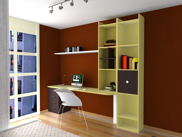 Dise o de habitaci n juvenil en color beig y moka muebles azor dise o 3d habitaciones - Habitacion juvenil diseno ...
