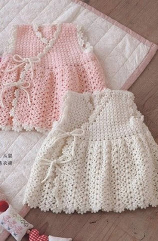 Crochet baby dress. V-stitch and shell stitch. Diagram available following link. ~~ BEBE CROCHÊ: Vestido de Crochet