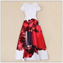 2016 Летняя Мода Женщины Бальное платье Платье Элегантный Сладкий Дизайн Красивый Большой Цветок Печатных Макси Длинные Платья Высокого Качества(China (Mainland))
