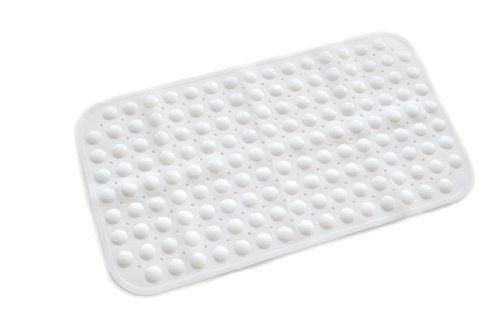 ABELE (R) Ultra Soft TPR (No Smell) Rubber Bubble Non Slip Baby Kids Safety Shower Bath Tub Mat, Skid Proof and Anti Bacterial, Mildew Mold Resistant Bathtub Mat (White)