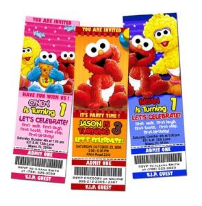 Elmo Sesame Street Birthday Party Invitation Ticket 1st Baby Babies First C1   eBay