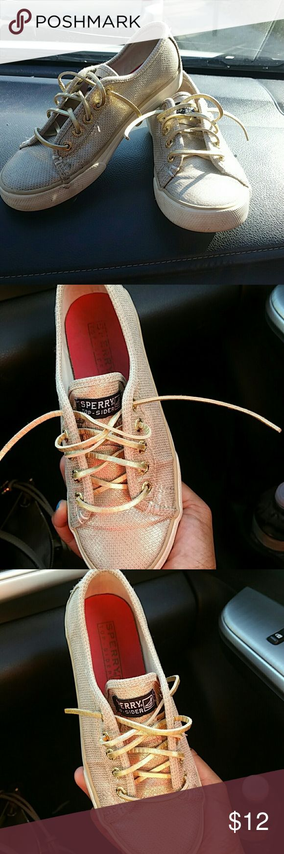 Sperry gold girl shoes size 1 Size 1 Sperry shoes. With gold leather laces. Sperry Top-Sider Shoes Sneakers