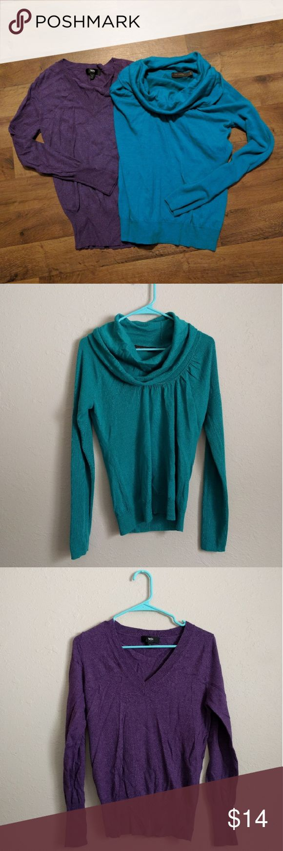 """Sale bundle of 2 colorful sweaters Bundle of 2 sweaters. Purple mossimo sweater and teal The Limited cowl neck sweater. No notable flaws. #sweater #bundle #sale #clearance #winter #warm   Brand: purple is Mossimo, teal is The Limited Size: purple size med, teal size large (but fits like medium) Measurements: purple chest 16"""" across, length 24"""". Teal chest 17"""" across, length 24""""  {Please ask for any pictures or measurements. Prices negotiable. I love doing cheap bundles on multiple items…"""