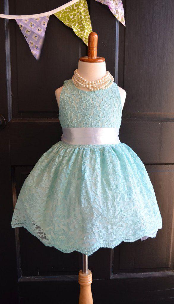 Aqua Turquoise Lace Flower Girl Dress, Turquoise Lace Wedding dress, Aqua Wedding, Vintage Style Lace Dress