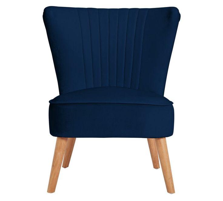 Buy argos home alana velvet shell back accent chair navy