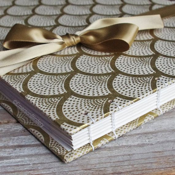 Wedding Guest Book, Art Deco in Cream and Gold, Select a size, MADE upon ORDER. Gold arched fans on a cream background create a rich design from the art deco era. Handmade in North Carolina. Available on Etsy.