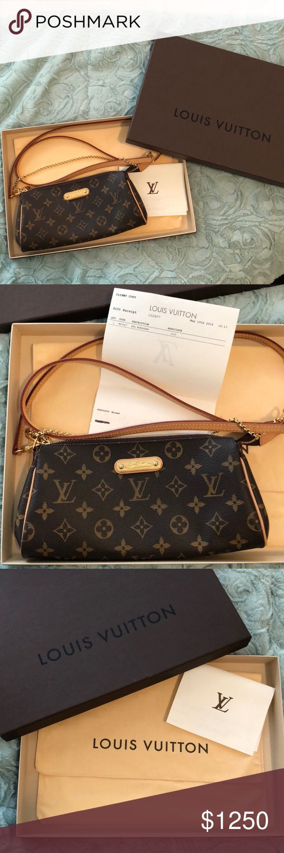 Louis Vuitton Eva Monogram **100% Authentic** Receipt Included - Louis Vuitton Eva Monogram **100% Authentic** PERFECT CONDITION  Bag was made and purchased in 2016.  Purchased May 10, 2016  Date Stamp MB0156 - made in France  Comes with crossbody strap, dust bag, box and receipt NO MODELING/NO TRADES  Reasonable offers welcome. I will let it go for the right offer at my discretion. LV no longer produces/sells this bag. Guaranteed to ship same day if purchased before 10am cst (excludes…