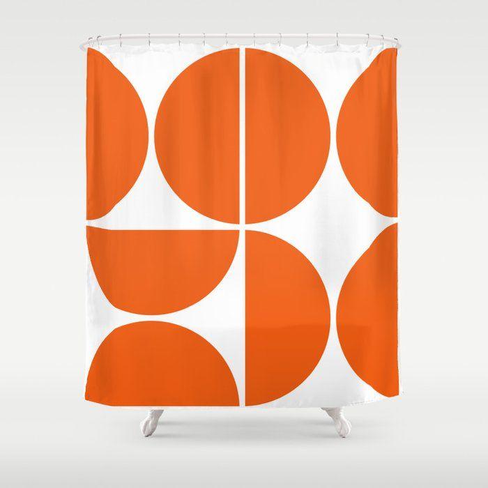 Buy Mid Century Modern Orange Square Shower Curtain By