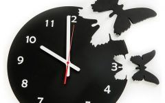 Black Wooden Butterflies Outdoor Wall 14 Inch Wooden Butterfly Clock   Contemporary   Clocks
