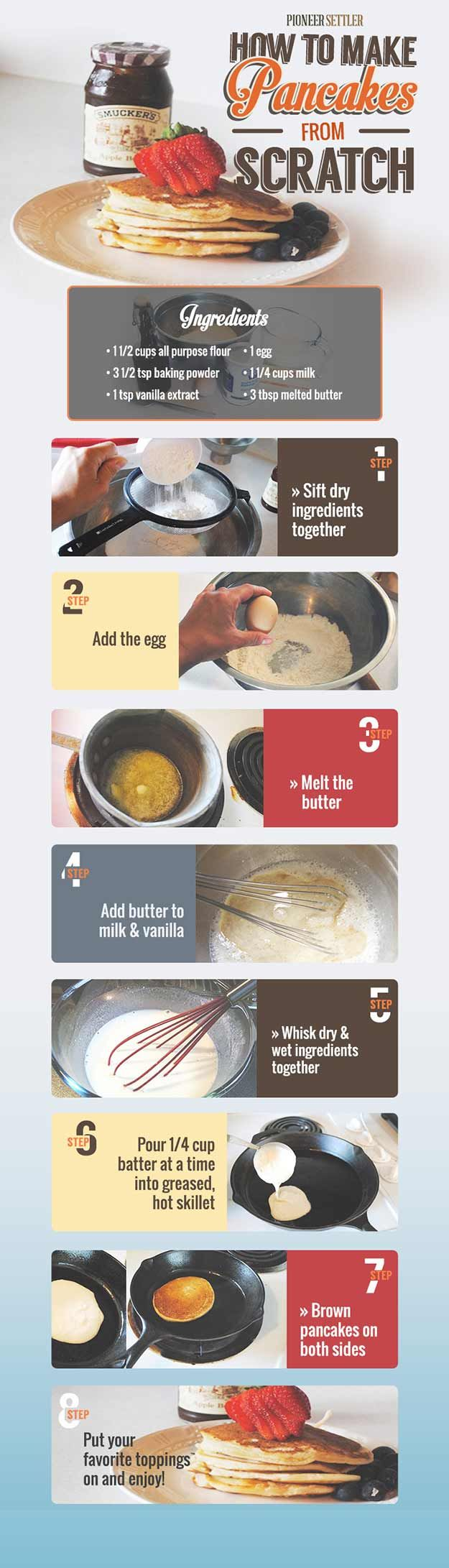 DIY Homemade pancake recipe, how to make pancakes from scratch. Homesteading recipes. | http://pioneersettler.com/how-to-make-pancakes-from-scratch/