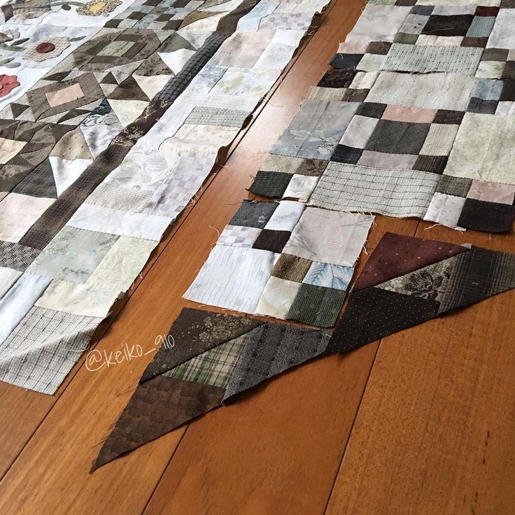 2016-11-1(火)🌤 ・ スクラップのキルト 途中経過 ・ ダブルフォーパッチの枚数が 揃ったので、次は三角部分突入 ・ 記録です コメントお気遣いなく  #スクラップキルト #patchworkquilt #patchwork #handpiecing #handpieced #パッチワーク #パッチワークキルト