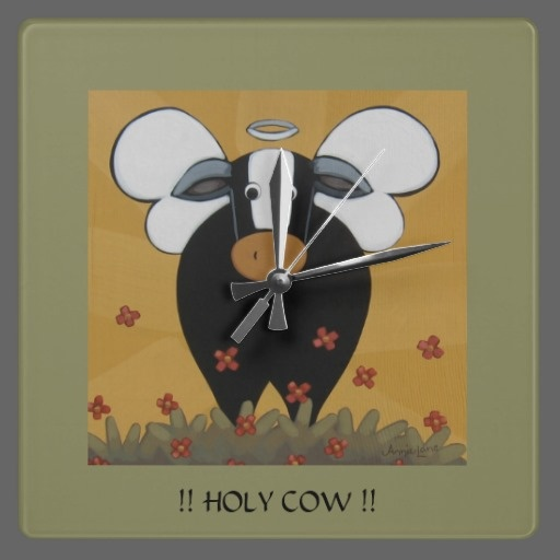 HOLY COW !! Whimsical Cow Kitchen Wall Clock By Annie Lane Whimsical Art