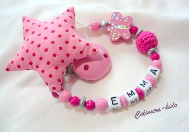 Schnullerkette mit Namen - Stoffstern rosa / pink von Calimera-Kids - Schnullerketten auf DaWanda.com
