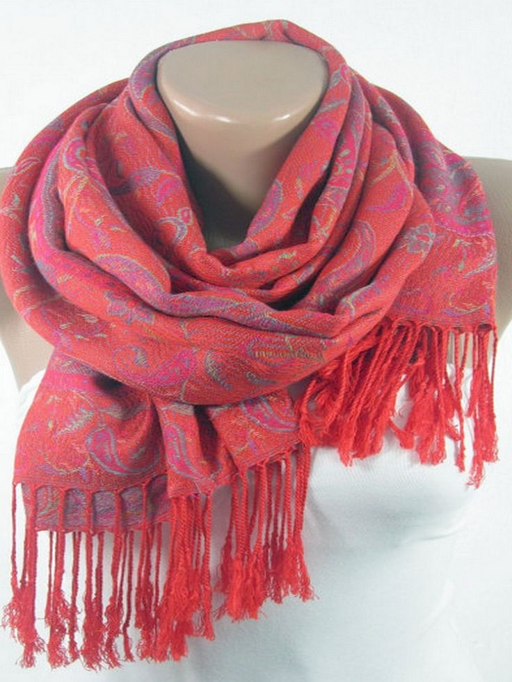 Soft Pashmina Scarf Mothers Day Gift Oversize Red Scarf Shawl  www.scarfclub.net