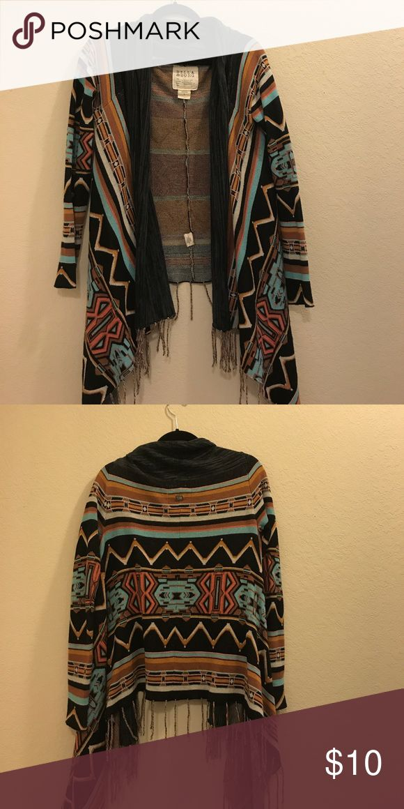 Tribal print sweater Tribal print open fringe cardigan. Don't let the size scare you I'm usually a extra small or small but the large fits well and is just a little slouchy. Billabong Sweaters Cardigans